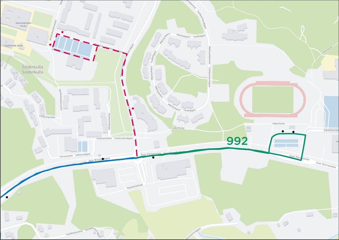 992 reittimuutos Opintieltä Miilin terminaaliin 23.9. alkaen