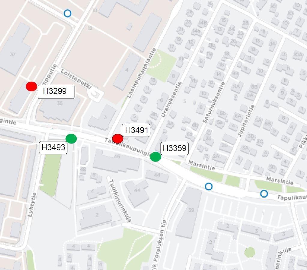 Tapulikaupungintiellä pysäkit H3359 sekä H3493 otetaan käyttöön. Suljetaan pysäkit H3491 sekä Lampputien pysäkk