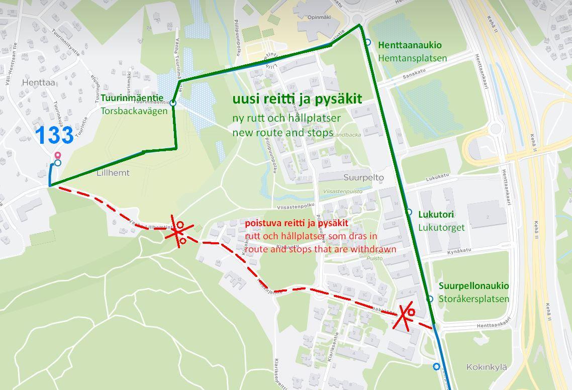 Kartta linjan 133 uudesta reitistä Suurpellossa ja Henttaalla