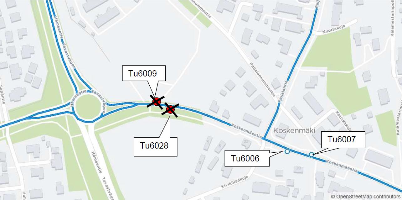 Koskenmäentie (Tu6009) ja Koskenmäen risteys (Tu6028) poissa käytöstä