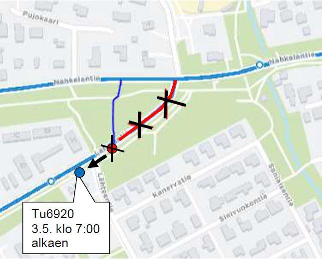 pysäkki Lahelanrinne (Tu6920) siirretään 3.5. klo 7:00 alkaen väliaikaisesti . 50 metriä taaksepäin