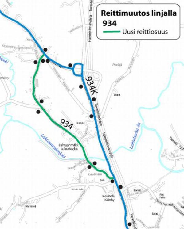 U934 uusi reitti kartalla