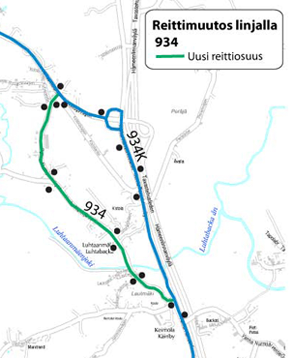 linjan 934 reittimuutos kartalla