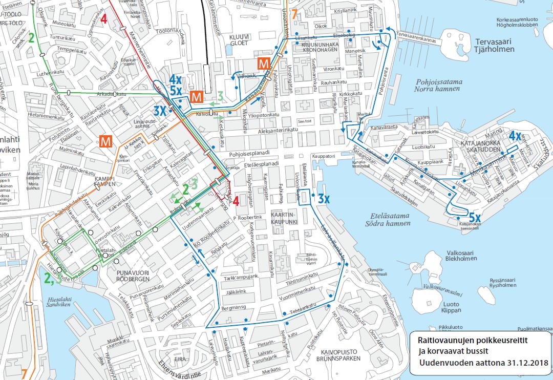 Kartta raitiolinjojen 2, 3, 4 ja 7 poikkeusreiteistä ja korvaavien bussien 3X, 4X ja 5X reiteistä 31.12.2018