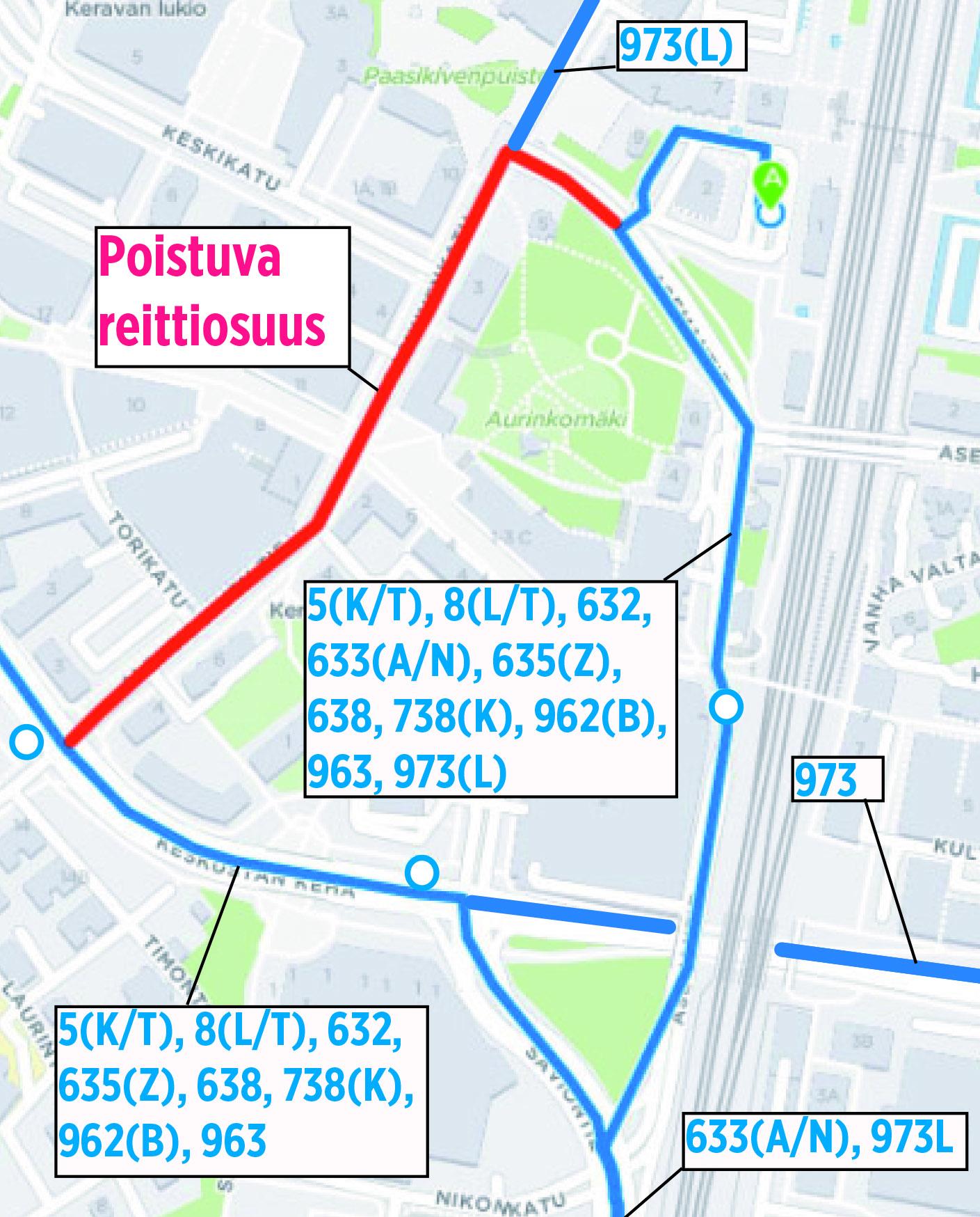 Bussien poikkeusreitit Keravalla 16.1.-17.3.2017
