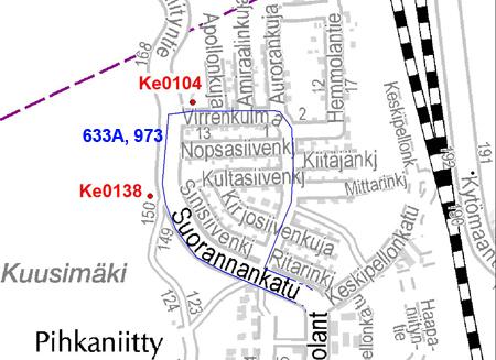 Bussien 633A ja 973 uusi lähtöpysäkki Keravalla 30.9.