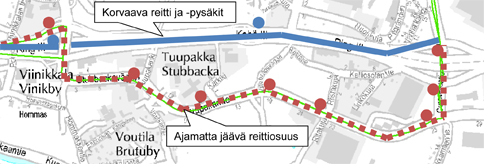 Tilapäinen reittimuutos Tuupakassa 10.7.2014