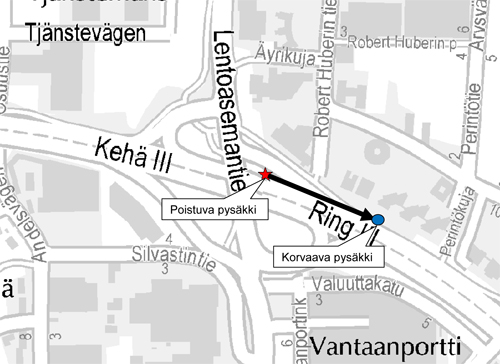 """Pysäkki """"Vantaanportti"""" siirtyy 4.11."""
