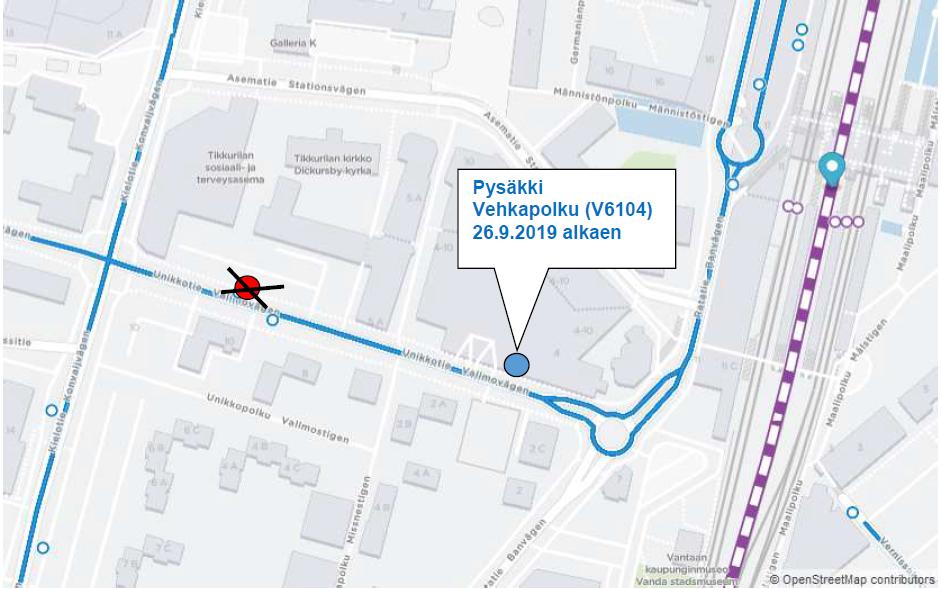 V6104 Vehkapolku siirtyy 200 metriä Tikkurilan aseman suuntaan 26.9. alkaen