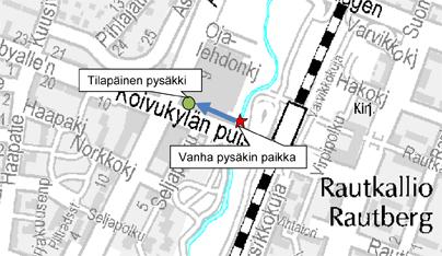 Pysäkin V7010 tilapäinen paikka 22.4.-12.5.