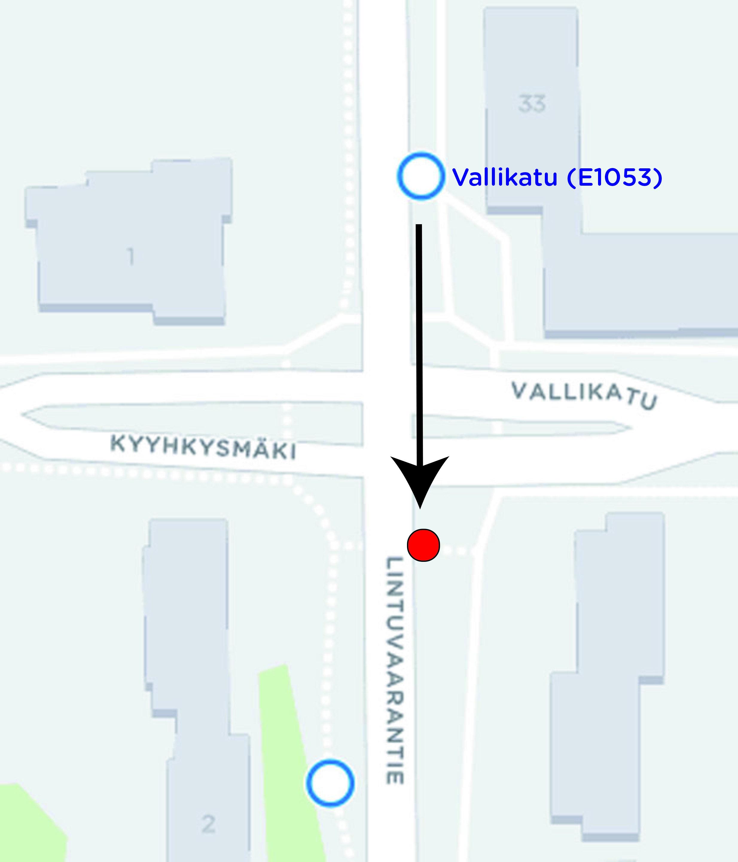 Vallikadun pysäkki siirtyy 24.4.2017