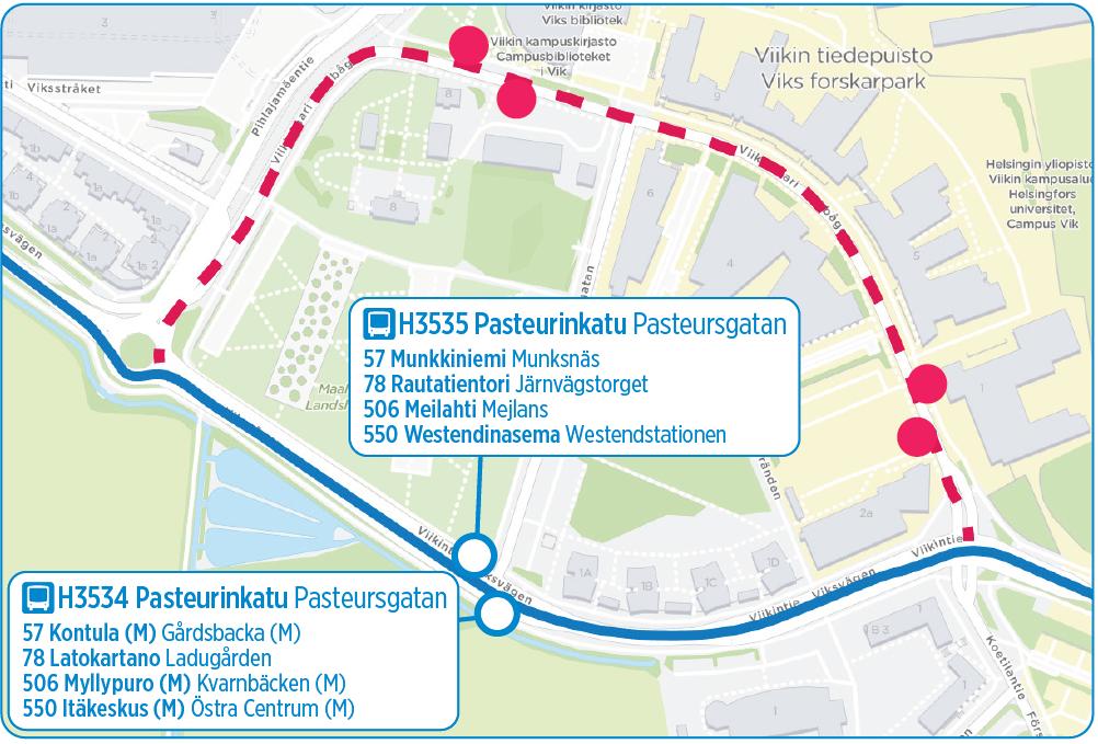Bussilinjojen 57, 78(N), 506 ja 550 reitti Viikissä muuttuu 1.1.2020 alkaen Viikintielle