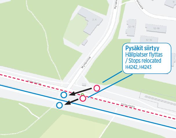 """Viilarintien pysäkit """"Myllärintie"""" (H4242, H4243) siirretään uuden ajoradan viereen 20.7"""