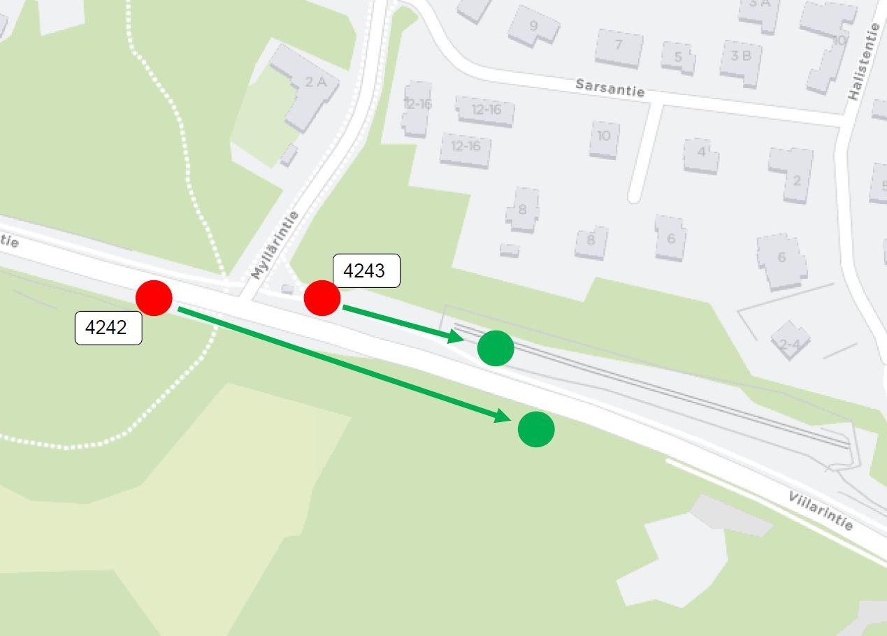 Pysäkit Myllärintie H4242, H4243 siirtyy kaivutyömaan takia noin 100 metriä kohti Itäkeskusta
