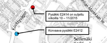 Kokinkyläntien pysäkki E2414 pois käytöstä 2.-15.3.2015